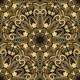 Ornate seamless pattern of golden mandala on black background. Stock Images
