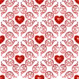 Ornate Seamless Pattern with Ruby Hearts Royalty Free Stock Photography