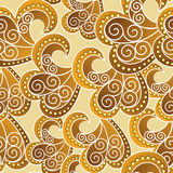 Ornate seamless pattern in yellow and brown colors Stock Photo