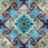 Waves of ornamental mosaic tile patterns. Ornate seamless texture background. Waves of ornamental mosaic tile patterns Stock Images