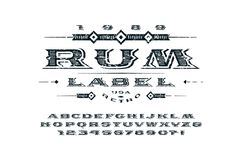 Ornate serif extended font in retro style Royalty Free Stock Photos