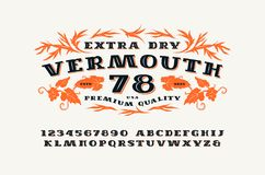 Ornate serif font in retro style Royalty Free Stock Photo