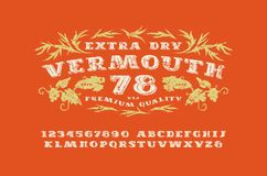 Ornate serif font in retro style Royalty Free Stock Photography
