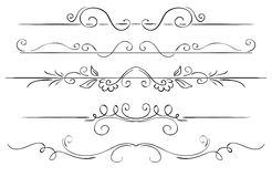 Ornate set of borders on a white background. Hand drawing Stock Photography