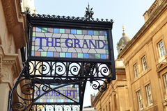 Ornate Sign at the Grand Hotel Royalty Free Stock Photography