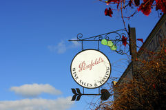 Ornate signage outside the Penfolds Estate Wine Sales and Tasting building Stock Photo
