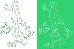 Ornate Silhouette of the bride with flowers Royalty Free Stock Images