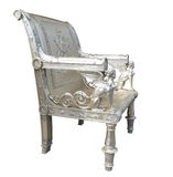 Ornate Silver Chair with Egyptian Figures Stock Photos