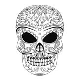 The ornate skull style zentangl, doodle Stock Photography
