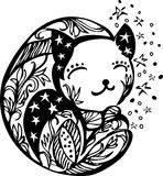 Ornate sleeping kitten silhouette. Ornate kitten silhouette vector illustration with stars Stock Images
