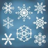 Ornate Snowflake silhouettes Royalty Free Stock Photos