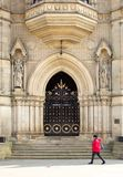 The ornate splendour of the door to Bradford`s Victorian City Hall royalty free stock photo