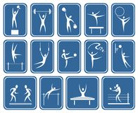 Ornate sports symbols. White symbolical images of various kinds of sports on a dark blue background Royalty Free Stock Photo