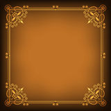 Ornate square golden frame on dark saturated background. Page decoration, corners. Transparency effects applied Royalty Free Stock Photos