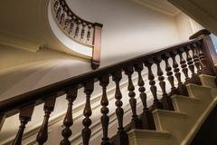Ornate staircase banister royalty free stock photography