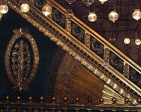 Ornate staircase rail. In the Mohamed Ali Mosque, Cairo, Egypt stock photo