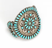 Ornate Sterling Silver Cuff bracelet with large Turquoise Stones. Royalty Free Stock Images