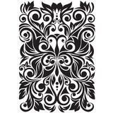Ornate with stylized butterfly. Floral background with swirl and leaves Royalty Free Stock Images