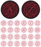 Ornate Swash Alphabet. Elegant drop cap vector letters in circular swash patterns Stock Photography
