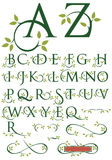 Ornate Swash Alphabet with Leaves. Elegant drop cap  letters with natural leaf designs Royalty Free Stock Image