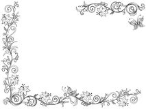 Floral frame as a greeting card. Ornate swirl floral frame with flowers and butterfly on the white background as a greeting card vector illustration Stock Photography