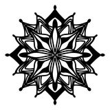 Ornate symmetrical flower or star pattern vector design element. Black abstract ornate symmetrical flower or star pattern vector design element with hand drawn Royalty Free Stock Image