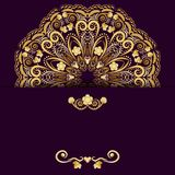 Ornate template for design invitations or Save The Date card. Gold flower mandala on purple background. Vector illustration Royalty Free Stock Photography