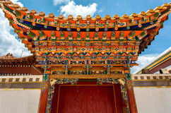 Ornate temple door. A temple door, it is very ornate wood carvings Stock Photo