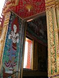 Ornate temple doorway. Beautiful and ornate temple doorway in Thailand Stock Photos