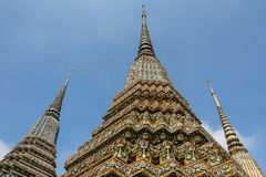 Ornate temple roof. Looking up at the ornate roof of a Thai temple in Bangkok Royalty Free Stock Images