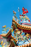 Ornate Temple Roof, Taipei, Taiwan Royalty Free Stock Photo