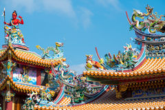 Ornate Temple Roof, Taipei, Taiwan. This image shows an Ornate Temple Roof, in Taipei, Taiwan stock images