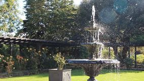Ornate tiered garden fountain stock video