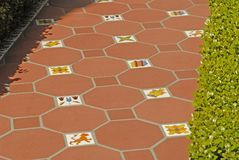 Ornate tile walkway Stock Photos