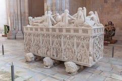 Ornate tomb of King Pedro I in Alcobaca Monastery stock photo