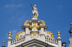 Ornate on the top of buildings in Grand Place, Brussels Stock Photo