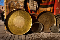 Ornate traditional brass serving trays Royalty Free Stock Photos