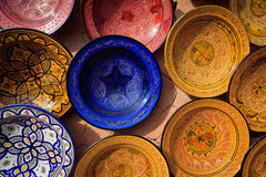 Ornate traditional Moroccan painted plates Stock Images