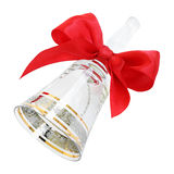 Ornate transparent crystal handbell with a red satin bow. Isolated on white Stock Image