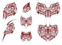 Ornate tribal butterfly wings elements Royalty Free Stock Image