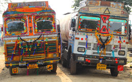 Ornate trucks in india Royalty Free Stock Image