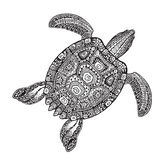Ornate turtle in tattoo style isolated on white background. Vector illustration Stock Images