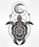 Ornate turtle in tattoo style with moon. Stock Photography