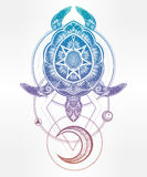 Ornate turtle in tattoo style with moon. Royalty Free Stock Images