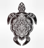 Ornate turtle in tattoo style. Royalty Free Stock Photo