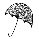 Ornate umbrella design, black silhouette Stock Images