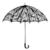 Ornate umbrella. Hand-drawn object isolated on white background Royalty Free Stock Images