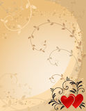 Ornate valentine's background. Ornate valentine's background with hearts and copy space Royalty Free Stock Images