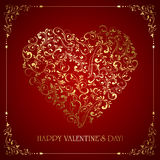 Ornate Valentines heart on red background Stock Image