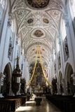 Ornate vaulted nave of a church or cathedral Stock Images
